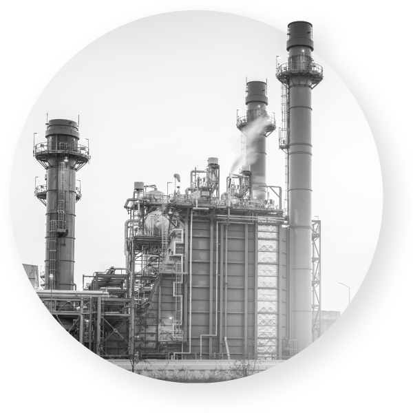Factory boiler towers
