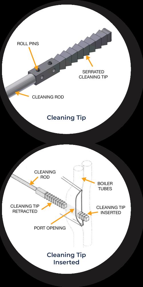 Multiple rod cleaner diagram